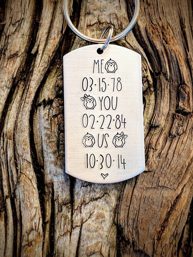 Boyfriend gifts Anniversary date gifts Custom Valentines day gifts Husband gifts. Personalized hand stamped keychain Penguin gifts
