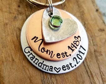 Personalized hand stamped keychain. Pregnancy announcement. New grandma gift. First mothers day gift. New grandmother. Mothers day necklace