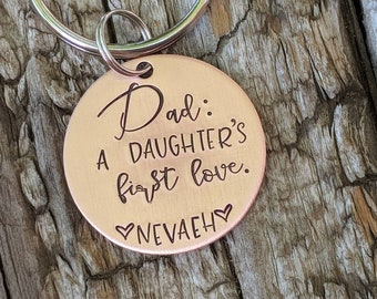 Personalized dad keychain. New daddy gift. Dad of daughters. A daughters first love keychain. First fathers day gift. Gift for husband.