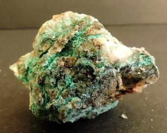 Rare ktenasite, serpierite and nauwite crystals on matrix from  Ramsbeck, Germany - thumbnail