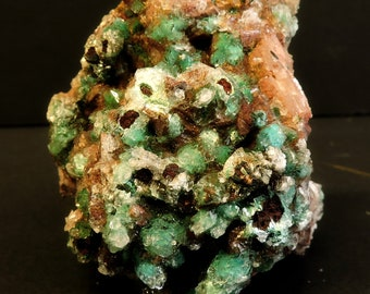 Malachite and selenite crystals on ankerite crystal cluster from the Bou Azzer District, Morocco - miniature