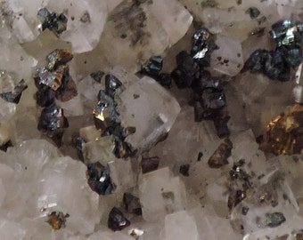 Calcite and marcasite crystal  cluster on matrix from Romania - cabinet size