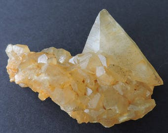 Golden honey calcite crystal cluster from Landelies, Montigny-le-Tilleul, Hainaut Province, Belgium - small cabinet size