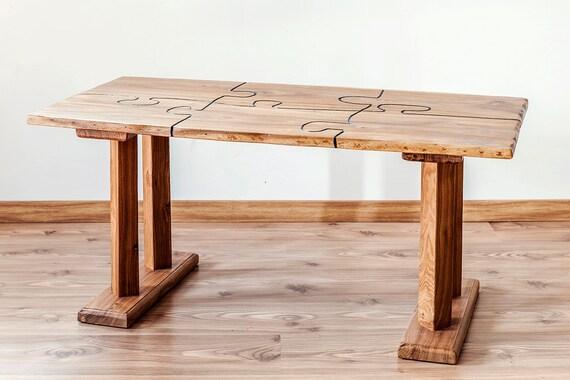 Massief Houten Tafel : Massief houten tafel tafel met ingelegde elm puzzle etsy