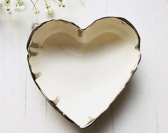 Heart shaped porcelain Ring Dish with real platinum lustre on the rim
