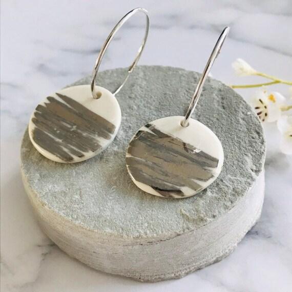 Platinum striped porcelain dangle earrings