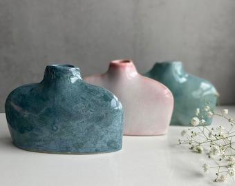 Teal Blue - Green Flat Bottle Vase, Flower Holder, Handmade Pottery, Contemporary Ceramics