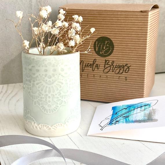 Pale Turquoise Lace Mini Planter in Porcelain with Platinum Rim - Flower Holder - Desk Tidy - Cactus Pot