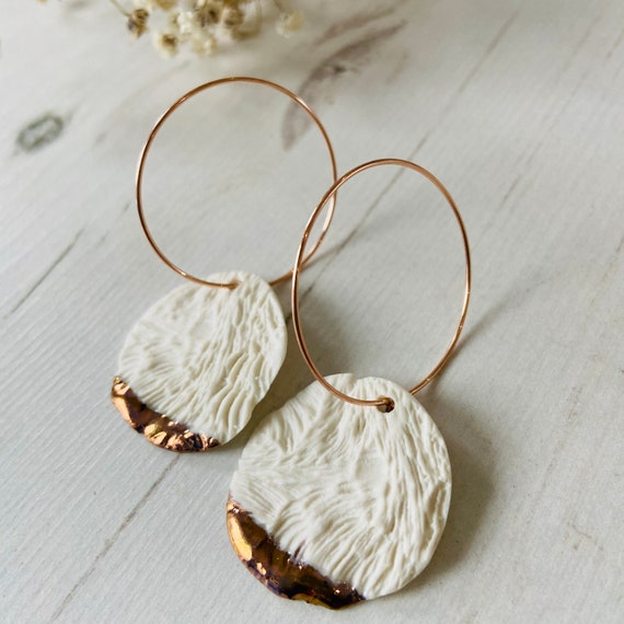Organic Textured Porcelain earrings on Rose Gold Hoops - Porcelain Jewellery - Gift for Her