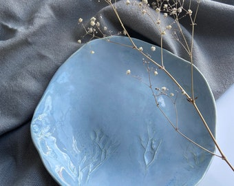 Light Blue Medium Handmade Porcelain Plate, Organic Shapes, Handbuilt Pottery, Ceramic Plate, Wabi-Sabi,Food Styling, FoodieGift