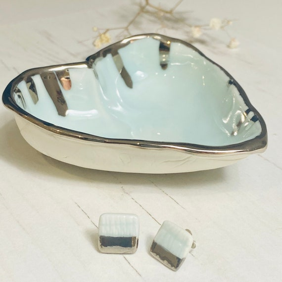 Turquoise glazed Porcelain Heart shape Ring Dish with Platinum Drip details