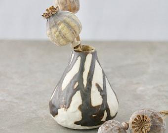 Textured Porcelain Bud Vase with Black-Bronze Glaze