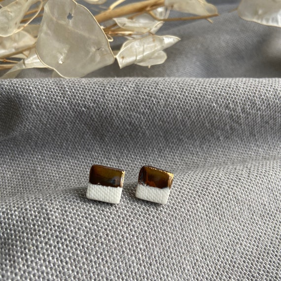 Copper and Porcelain Square Studs /Geometric Earrings / Porcelain Jewellery /
