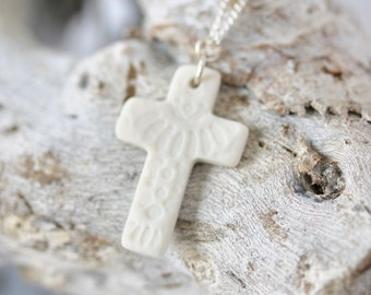 Cross Pendant Necklace in Porcelain with Sterling Silver Chain