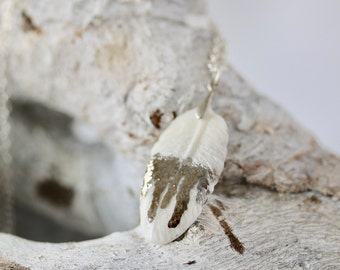 """Small Boho Feather Necklace in Porcelain with  Platinum Drips detail with 50cm (20"""") Sterling Silver Chain"""
