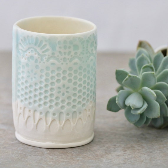 Lace design Porcelain Mini-Planter in Turquoise glaze