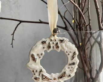 Holly Wreath Porcelain Christmas Decoration with Platinum Details, Xmas Ornament, Festive Gifts, Heirloom Baubles, Keepsake Decorations