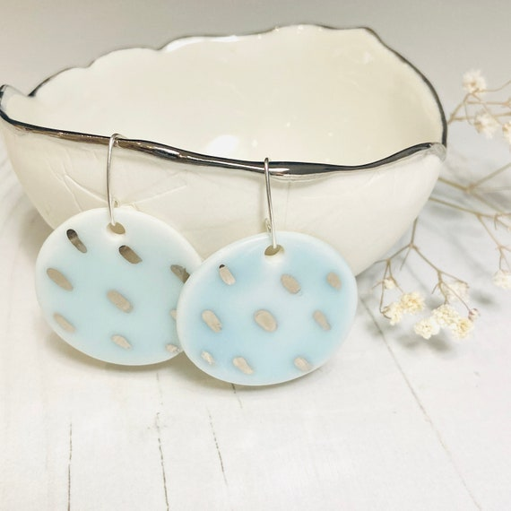 Platinum Dash Porcelain Earrings with Turquoise Glaze on Sterling Silver Hooks