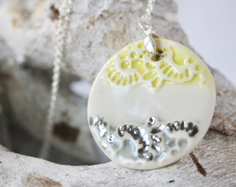 """Yellow and Grey Lace Circle Pendant in Porcelain on a  45cm ( 18"""" ) Sterling Silver Chain"""