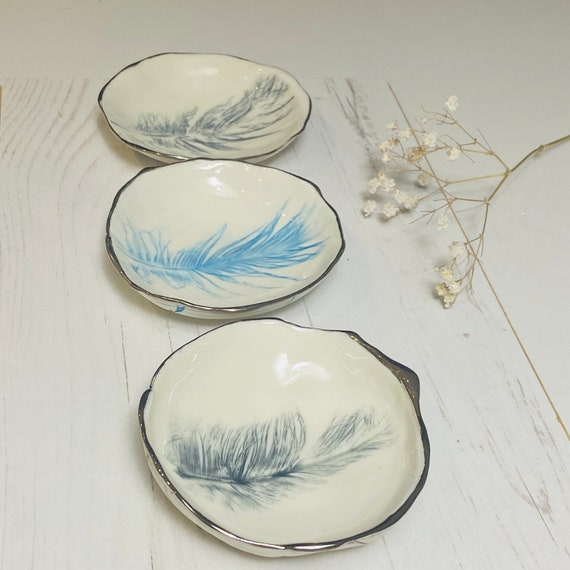 Feather Ring Dish in Porcelain with Platinum Rim - Jewellery Holder - Trinket Bowl - Catchall