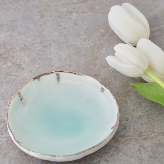 Turquoise Glazed Ring Dish with Platinum Drips **SOLD but can be made-to-order**