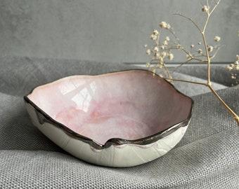 Pink handmade bowl, Wabi-Sabi Style, Organic Shapes, Handbuilt pottery, Porcelain Dish, Food Stylist, Interior Decor, Silhoutte Collection