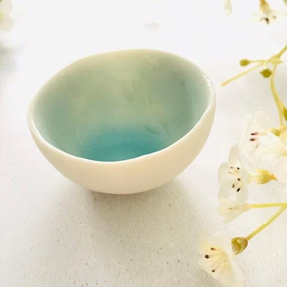Turquoise glazed porcelain mini bowl