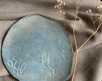Small Blue-Grey handmade plate, organic style ceramics, Wabi Sabi plate, Cake platter, NicolaBriggsCeramics, Handbuilt Porcelain