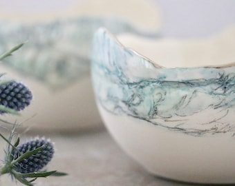 Landscape detail Porcelain Statement Bowl with real Platinum Rim ** SOLD but can be made to order**