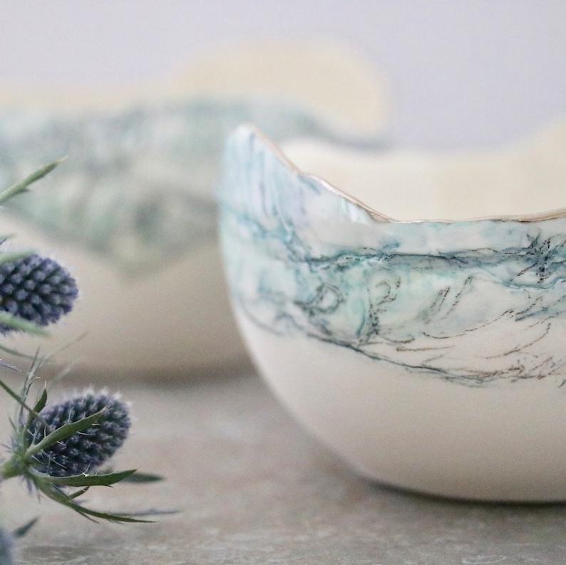 Landscape detail Porcelain Statement Bowl with real Platinum image 0