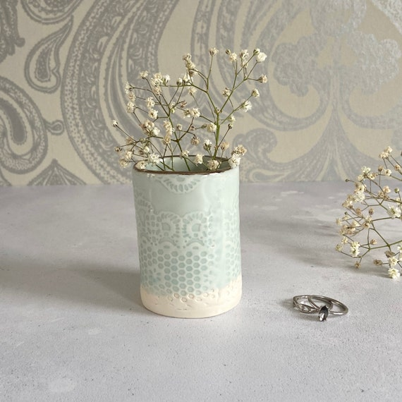 Pale Turquoise Lace Mini Planter in Porcelain with Platinum Rim - Flower Holder - Desk Tidy - Cactus Pot