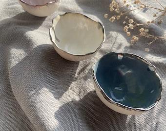 Pink small bowl with torn rim edged in platinum / trinket dish / boho decor/ wabisabi aesthetic