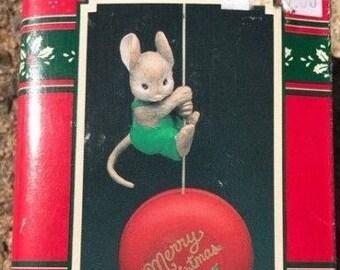 Vintage Enesco TREASURY CHRISTMAS ORNAMENTS, Ho-Ho-Yo-Yo Mouse