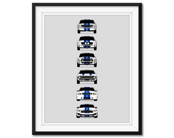 2020 Shelby GT350 Heritage Car Canvas Print Framed 5 Pcs Wall Art Poster Decor