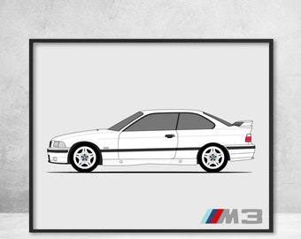 bmw m3 e36 side profile view poster print, 3 series (1992-1999) wall art  decor handmade bmw m power c1