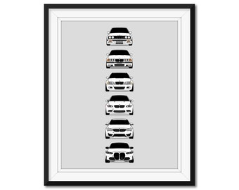 BMW M3 Poster Print Wall Art of the History and Evolution of the M3 Generations, BMW Car Models: E30, E36, E46, E92, F80, G80 AX1