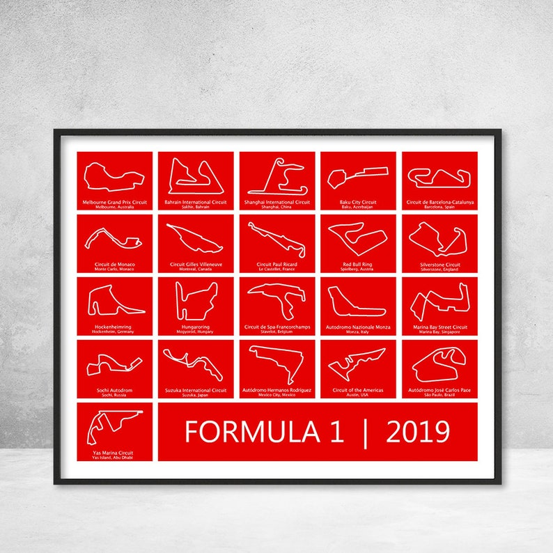 Formula 1 Race Track F1 Circuit 2019 Poster Print Wall Art (Digital  Download) E1