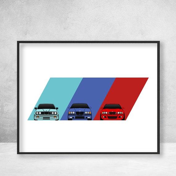 BMW M3 Poster Print Wall Art on BMW Power M Logo Featuring BMW M3 Car Models Generations: E30 M3, E36 M3, E46 M3 BX1
