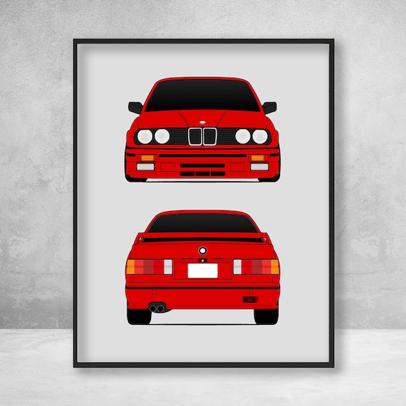 Bmw M3 E30 Front And Rear Poster Print 3 Series Wall Art Decor Bmw M Power D1