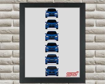 Subaru STI Poster // WRX Impreza // 1992-Present // Generations Poster // gc gf gm n series // gd gg s series // ge gh gr gv g3 // gj gp G4