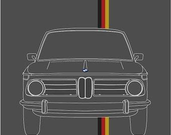 BMW 2002 Art Print // BMW 2002 TII // 2002 Turbo