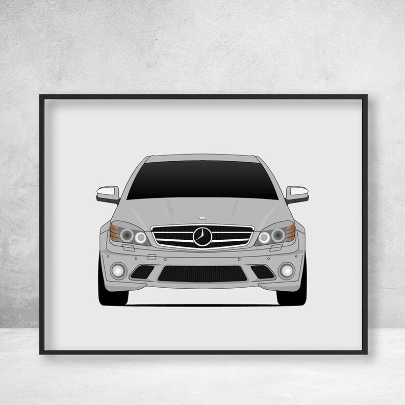 Mercedes-Benz C-Class W204 Poster Print, C63 AMG Wall Art Decor C1