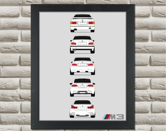 BMW M3 Generations Poster (rear) // E30 E36 E46 E92 F80 M3 // BMW 3 Series // BMW M Power Print