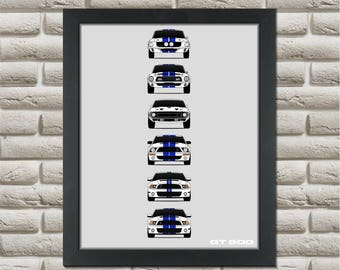 Shelby Mustang GT500 Generations Poster // Carroll Shelby // Shelby Mustang // 1967 - 2016 Shelby Mustangs // Ford Mustang