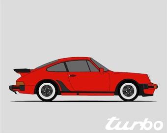 Porsche 930 Turbo Poster// 911 Turbo // Turbo Carrera // 1975- 1977 // Porsche Art // Porsche Poster // Porsche Print