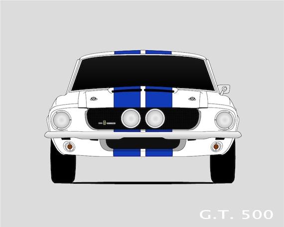 1967 Shelby GT500 Art // Shelby Cobra // Shelby Mustang // | Etsy