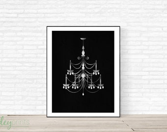 Silver and Crystal Chandellier Print, silver foil, crystals, shine, diamond