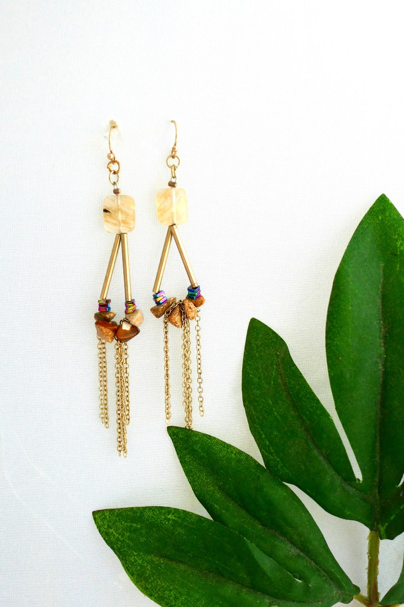 Stone and chain earrings gifts for her dangle earrings long earrings boho earrings unique earrings gold earrings thank you gifts,