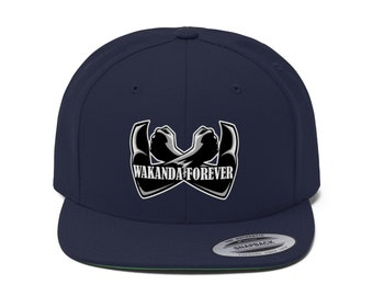 Embroider Wakanda Forever Unisex Flat Bill Hat c35bbe398108