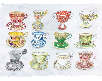 Decorative teacups. Limited edition Giclee print